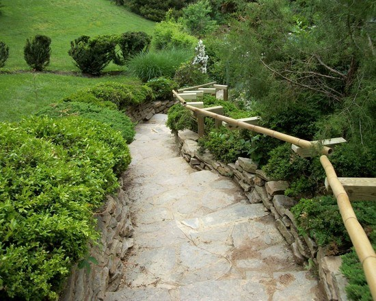 Japanese garden with bamboo handrails