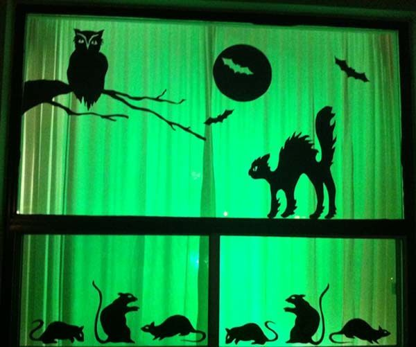 Decorating windows with spooky silhouettes