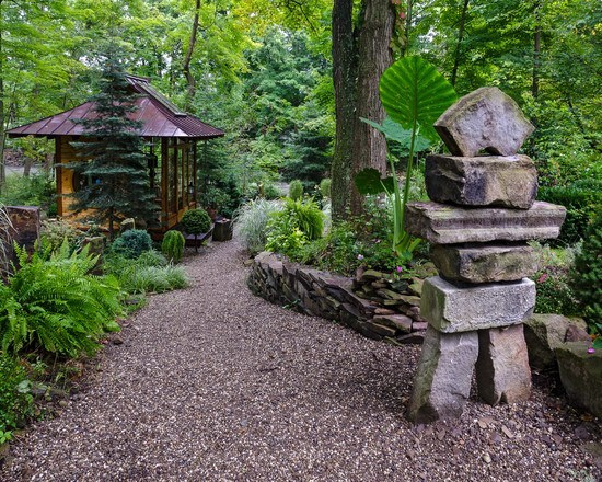 Garden with winding gravel path
