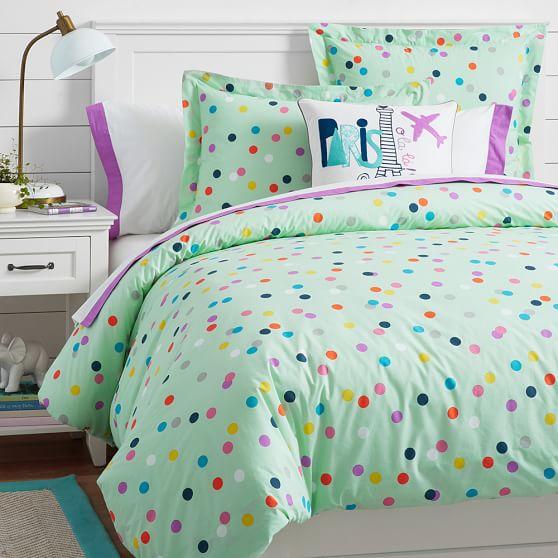 Pale blue polka dot bedding