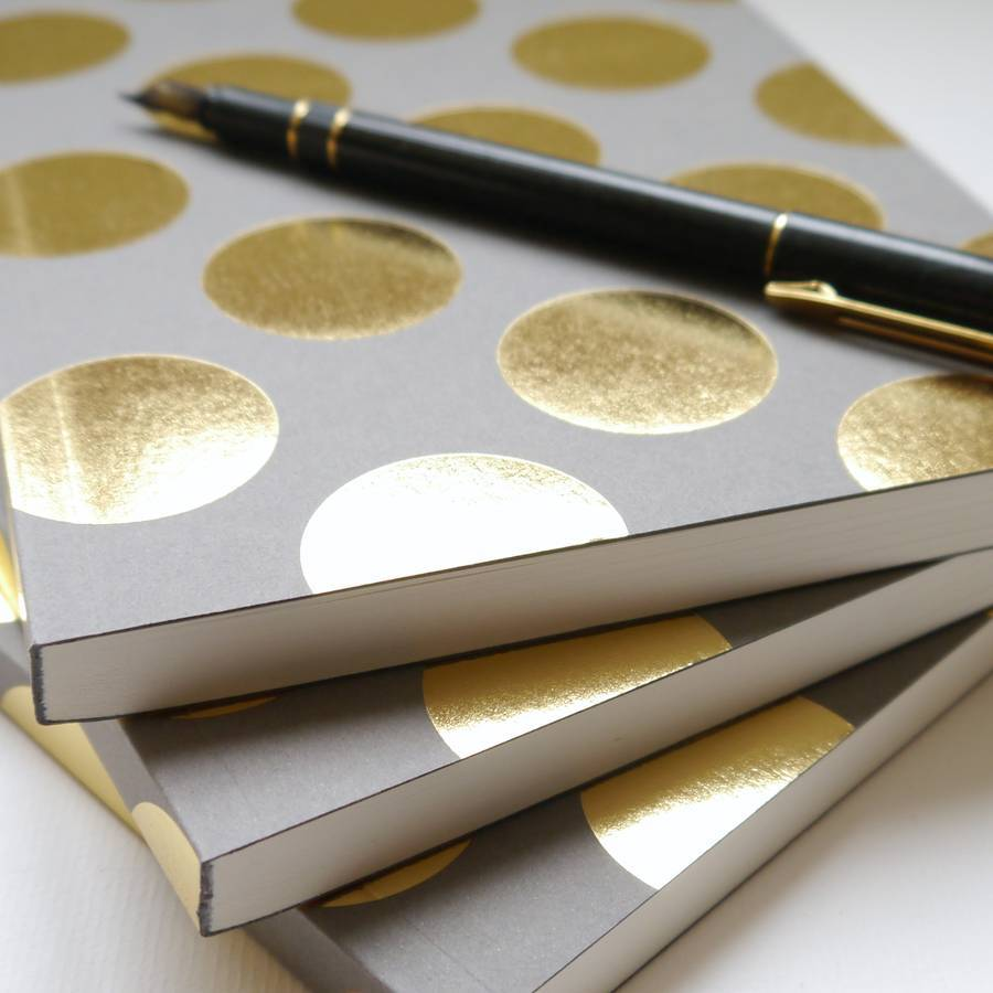 Gorgeous gold and grey diaries