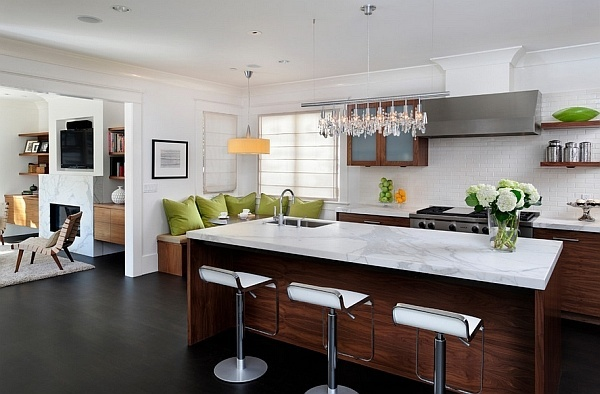 Elegant bar stools complement the countertop perfectly
