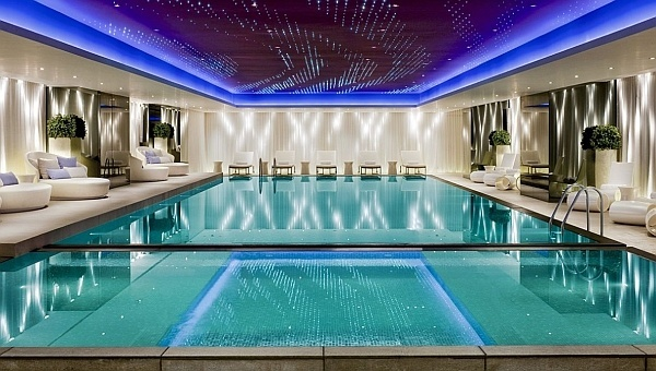 Indoor swimming pool with magical lighting