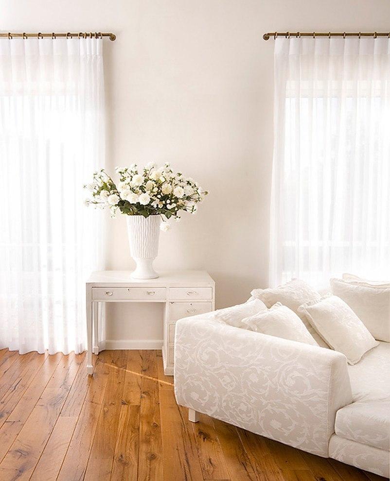 Tall, white curtains