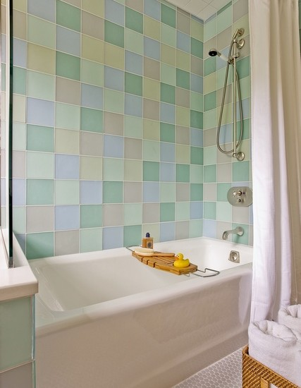 Mosaic pastel bathroom