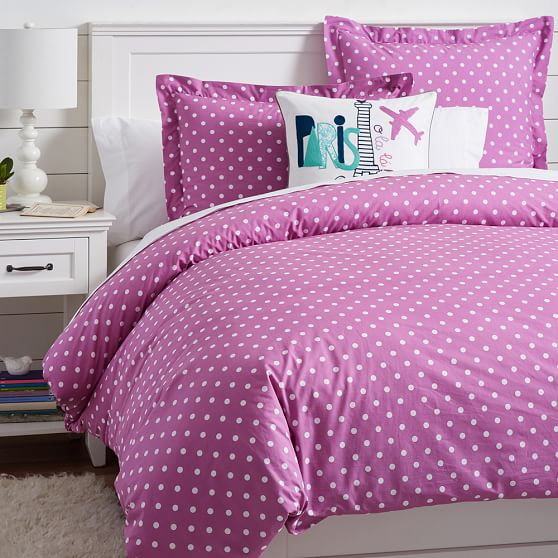 White bedding with purple trim