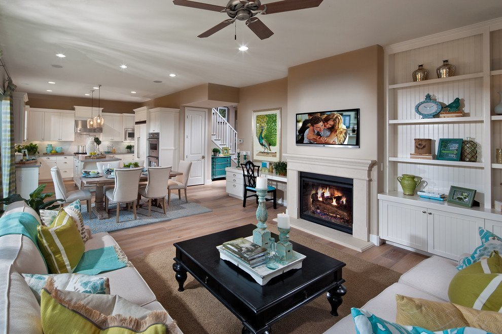 Lime green and turquoise accents are scattered across the room