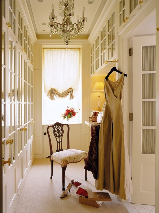 Dressing room with pure white furniture