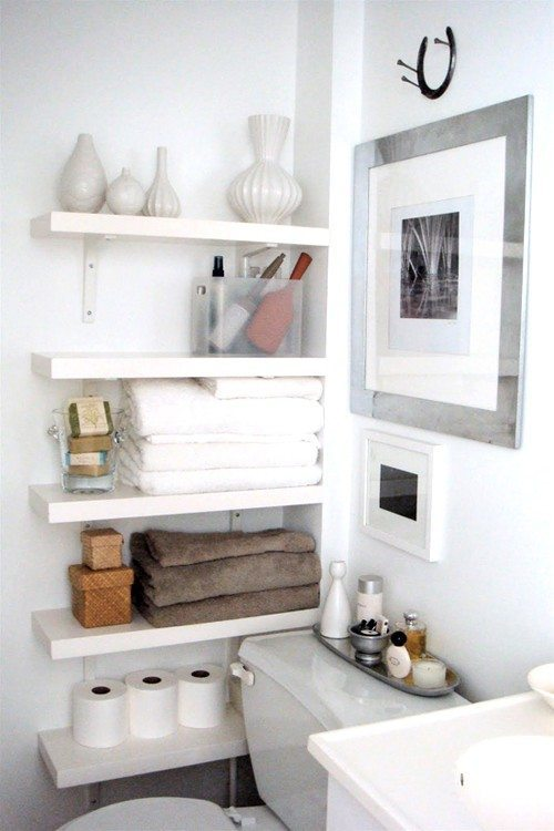 Bathroom with shelves
