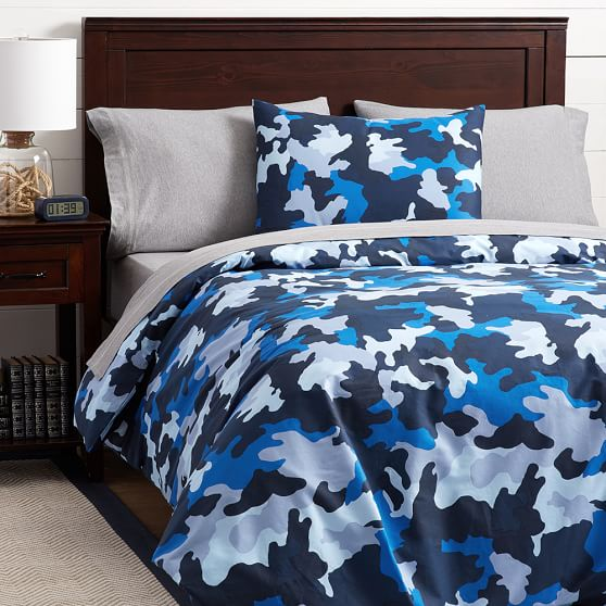 Cool Blue Brown And Grey Camo Bedding