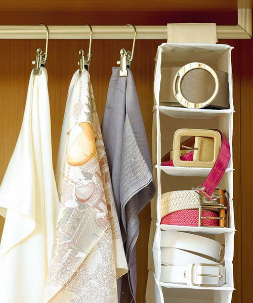 Wardrobe with hangers for scarves