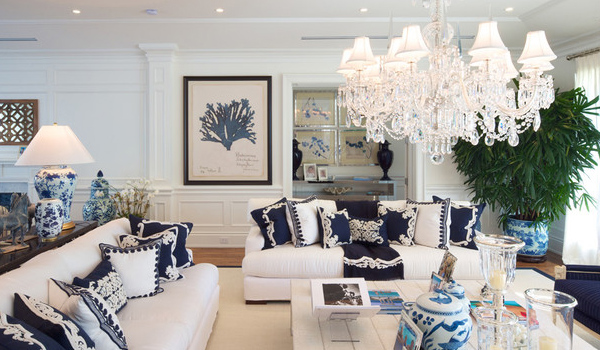 White,blue living room