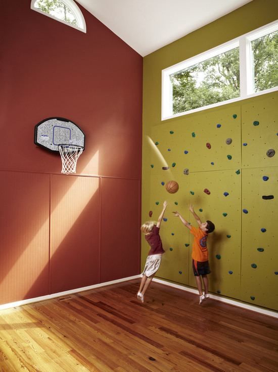 10 basement basketball court ideas for Basketball hoop inside garage
