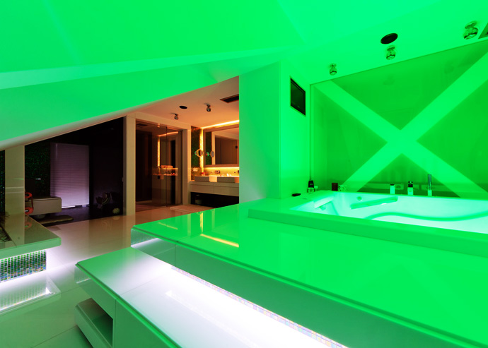 Green color highlights this room