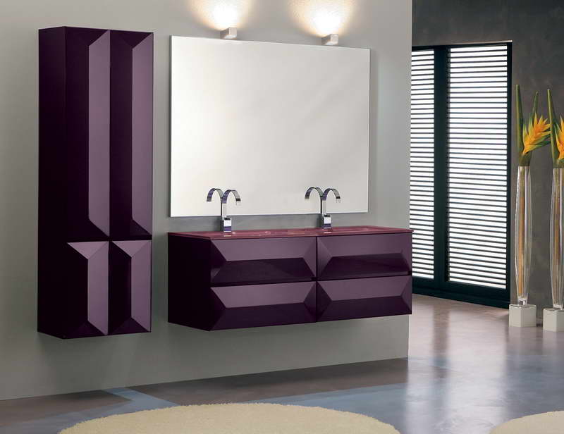 Purple color highlights this room