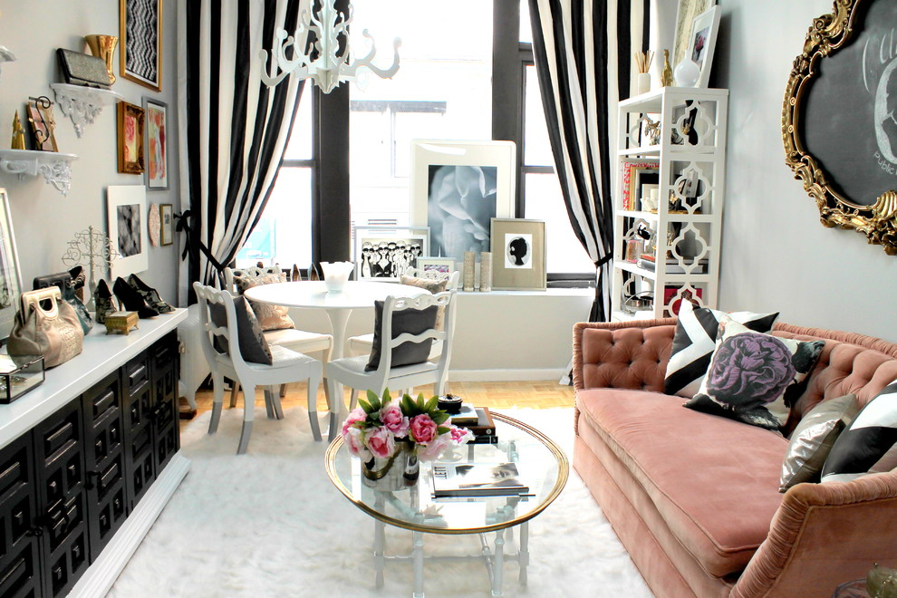 Living room with striped curtains