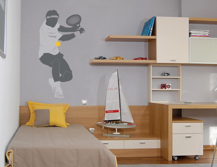 Bedroom with tennis player design on the wall