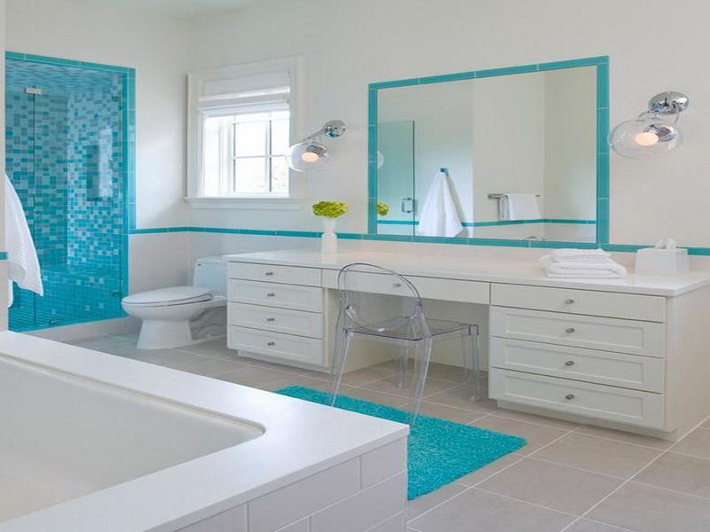 White,blue bathroom design