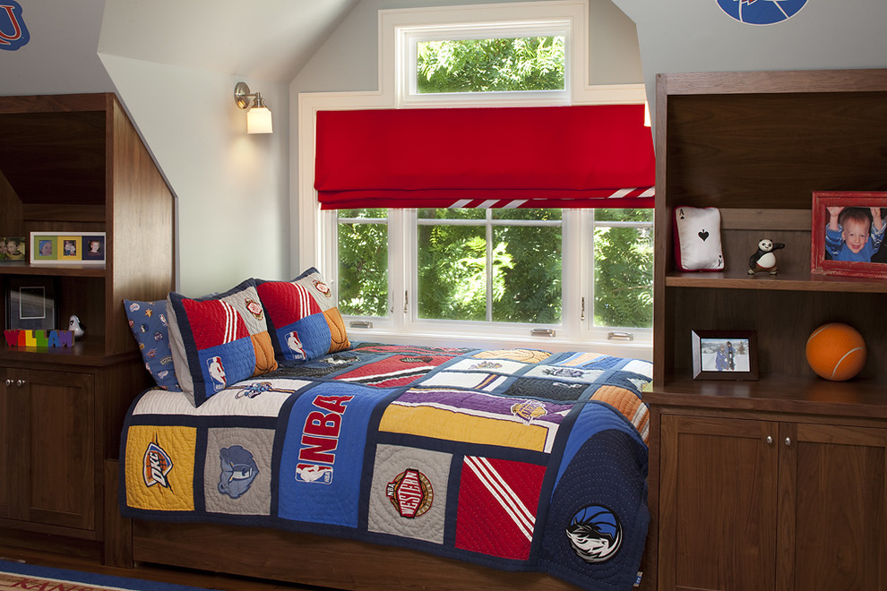 Roman blinds add a soft splash of colour and fun to this bedroom