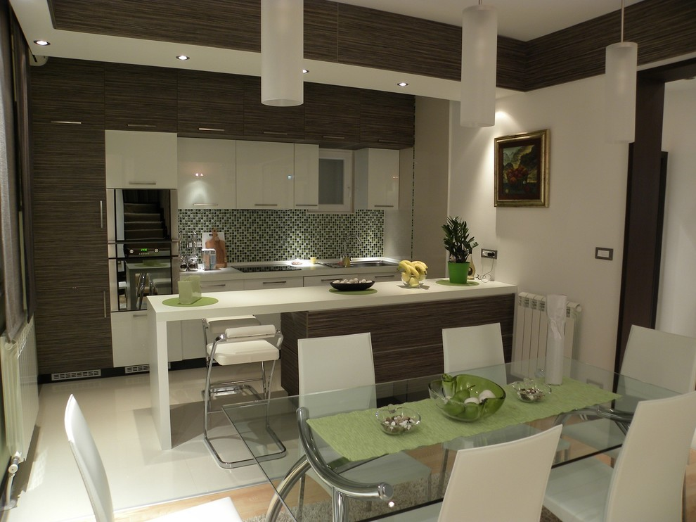 All white kitchen and dining room