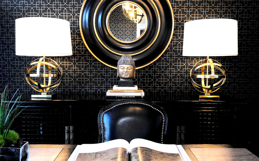 Black bathrooom mixed with ornate gold