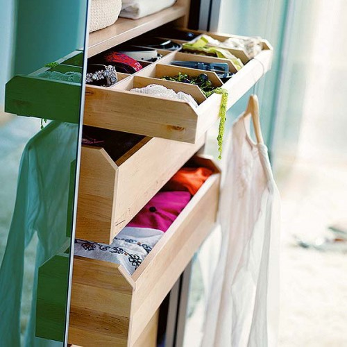Drawer dividers are added to shallow drawers