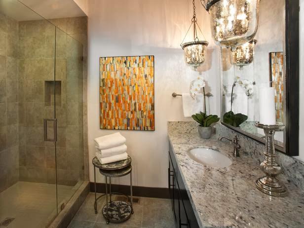 Bathroom with a big mirror