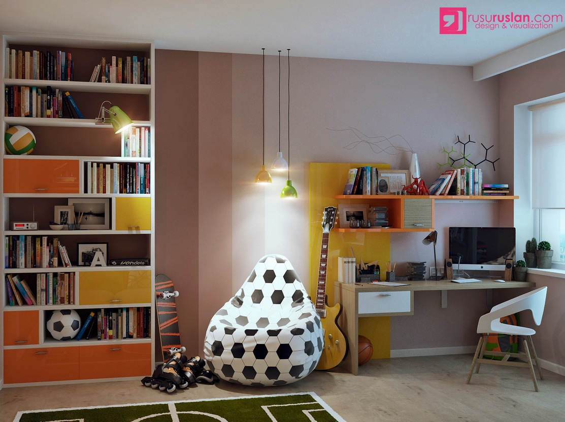 Kids room with a bean chair