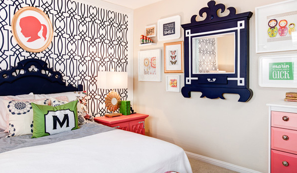 Bedroom with cute and quirky artwork
