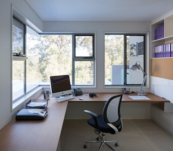 Home office with plenty of storage space