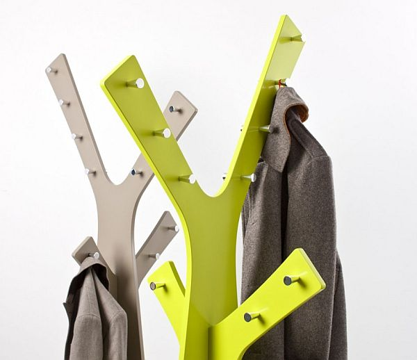 Lime green and grey coat stand design