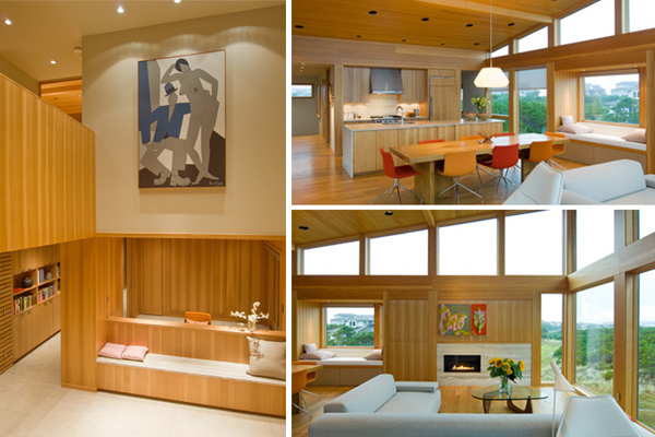 Open plan kitchen, dining, and living area