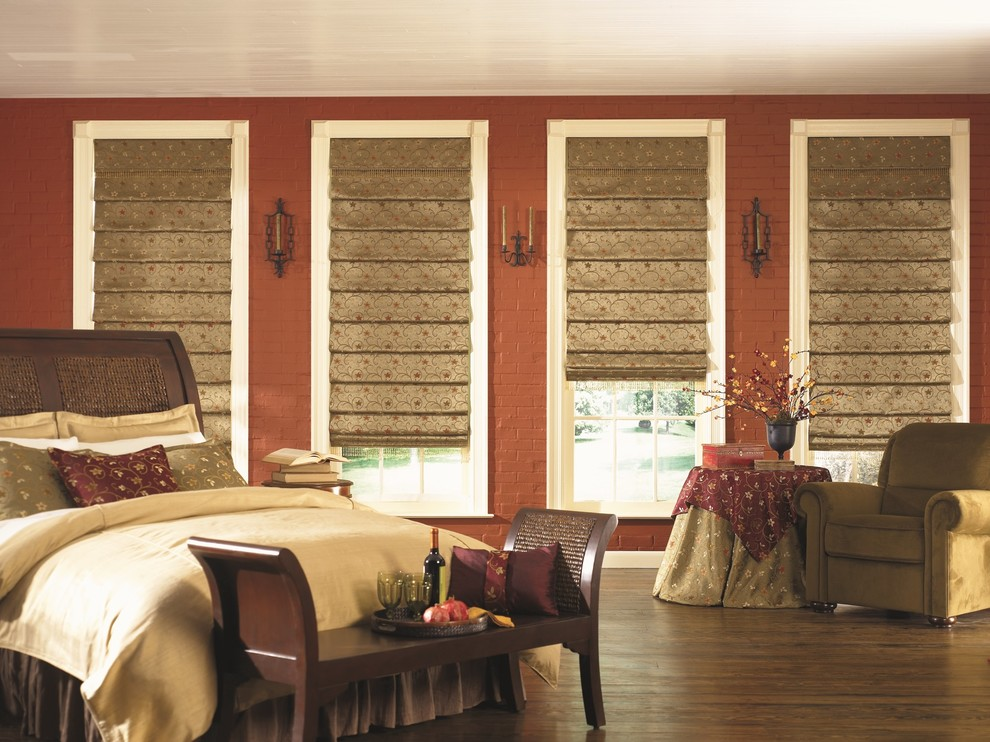 Bedroom with metallic blinds