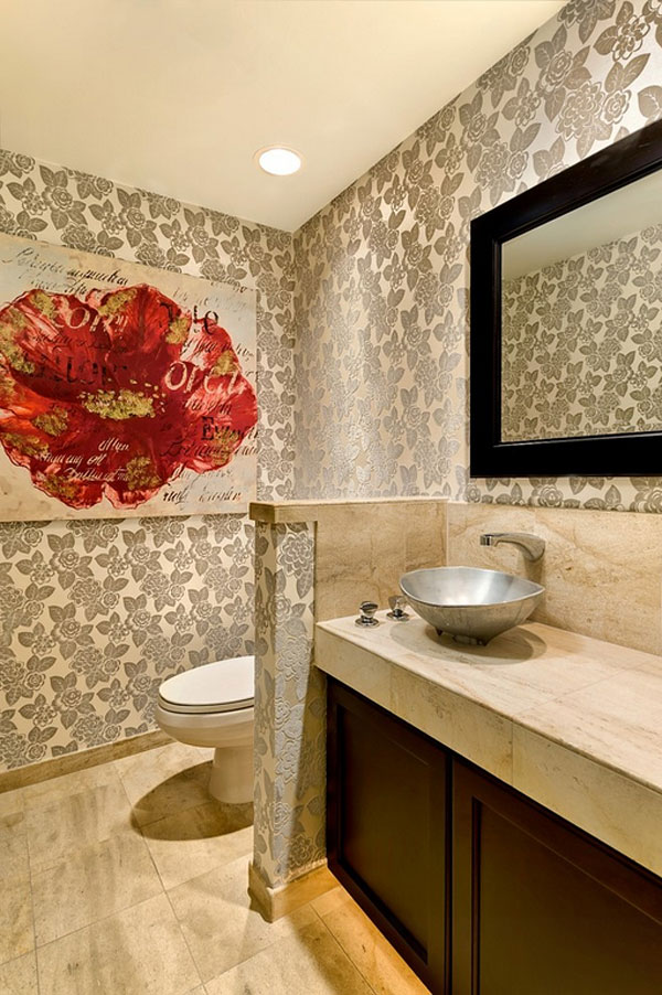 Bold metallic patterned wallpaper