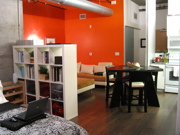 Orange color highlights the apartment