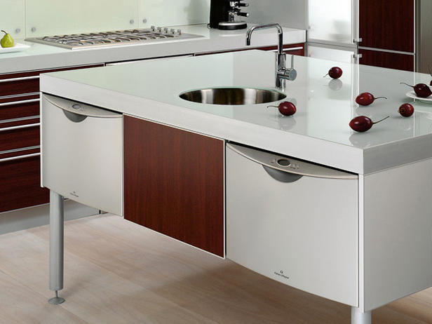 kitchen island with white glossy finish and big shelves