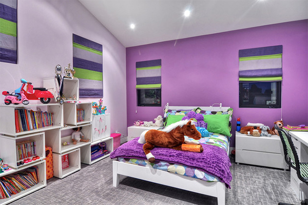 Bedroom with purple walls