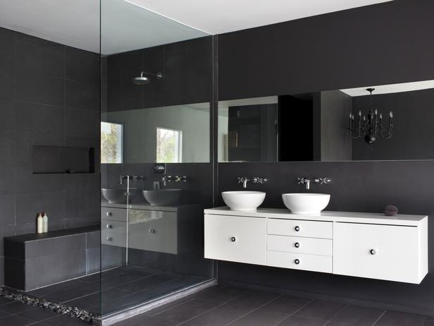 Bathroom with a white cabinet