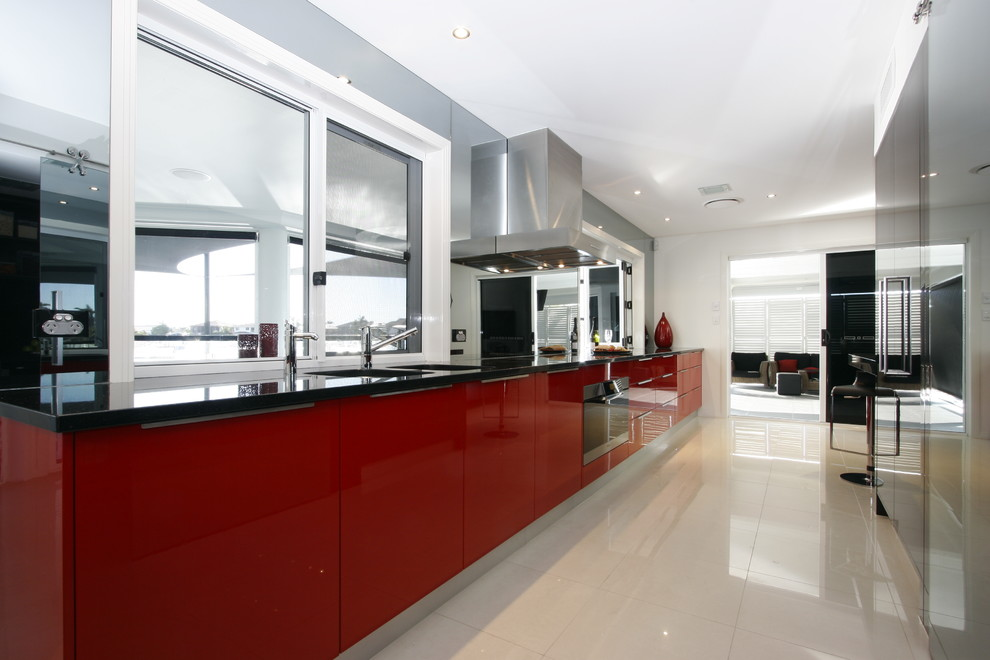 Red and black modern kitchen