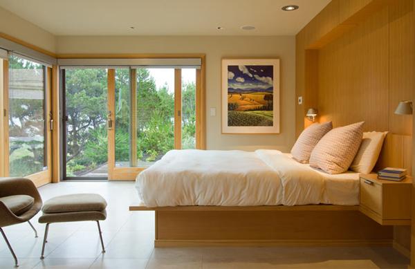 Bedroom with sliding patio doors