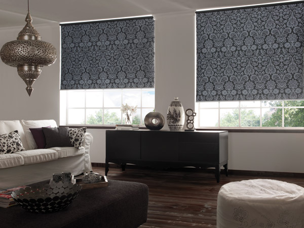 Roller blinds made of fabric and PVC pole on top