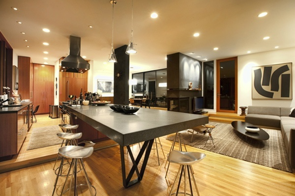 Dark and industrial dining room