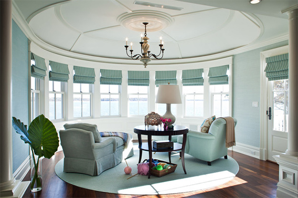 Living room with curved walls