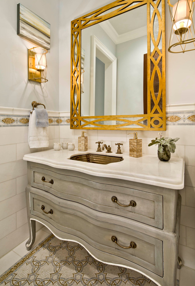 Bathroom with huge art deco mirror