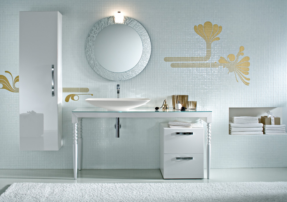 White bathroom with golden tiles