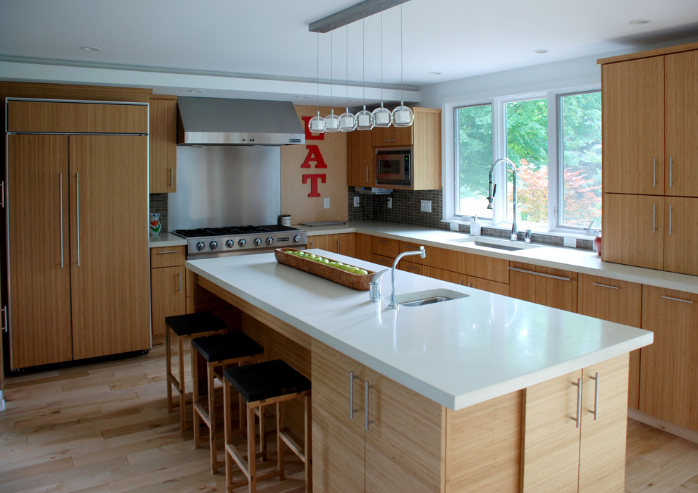 Kitchen islands create a two separate functional areas in one kitchen