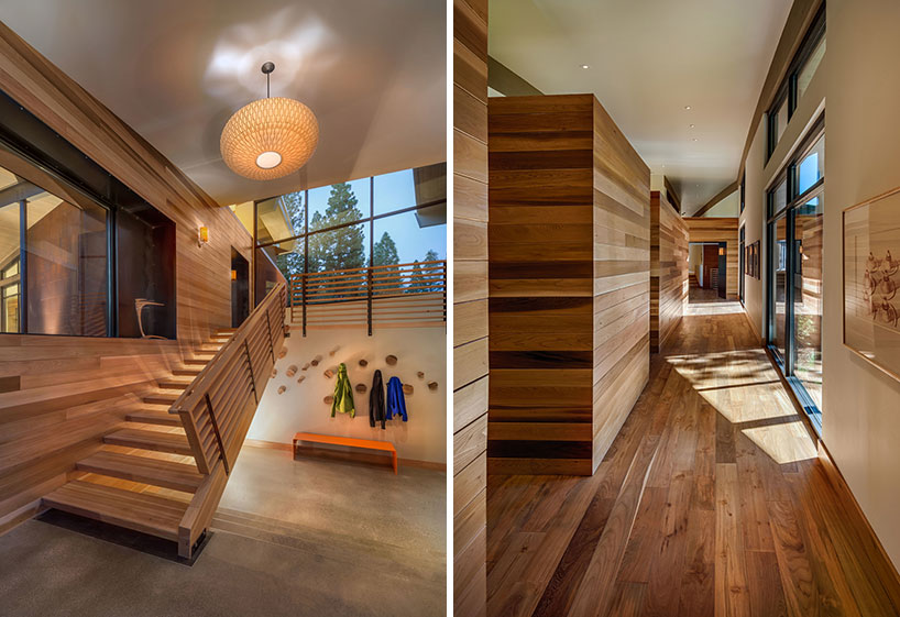 Two panels with wooden staircase and railing and passageway