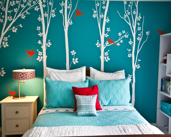 Bedroom with beautiful wall art