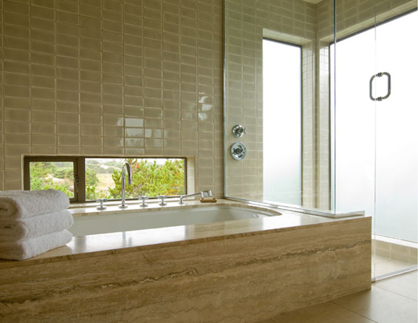 Bathroom with large frosted windows