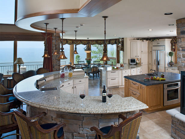Kitchen island with a granite countertop